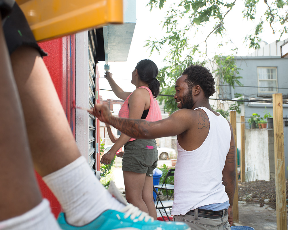 CohStra, Playgrounds, community hub, 632 Jackson Street, container, Mural Arts, painting the container